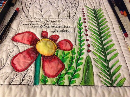Coloring with pencils on quilted fabric -- explains painting colors ...