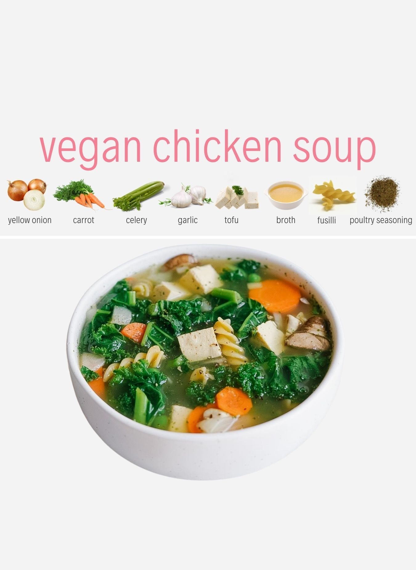 Vegan Chicken Noodle Soup With Tofu Kale And Mushrooms Plant You Recipe In 2020 Vegan Chicken Noodle Soup Whole Food Recipes Delicious Vegan Recipes