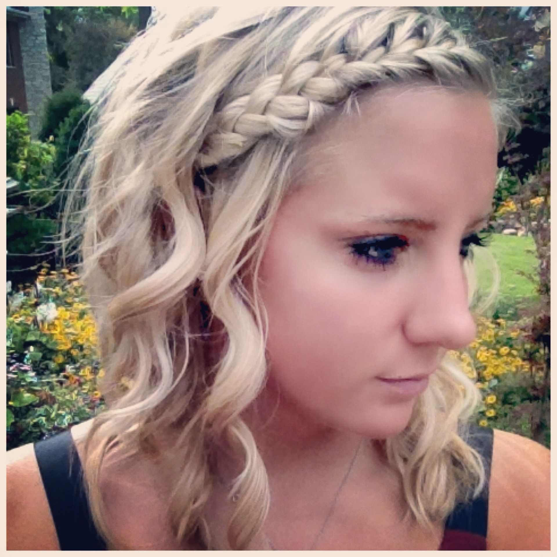 Easy Hairdo With French Braid And Curling Wand Curl