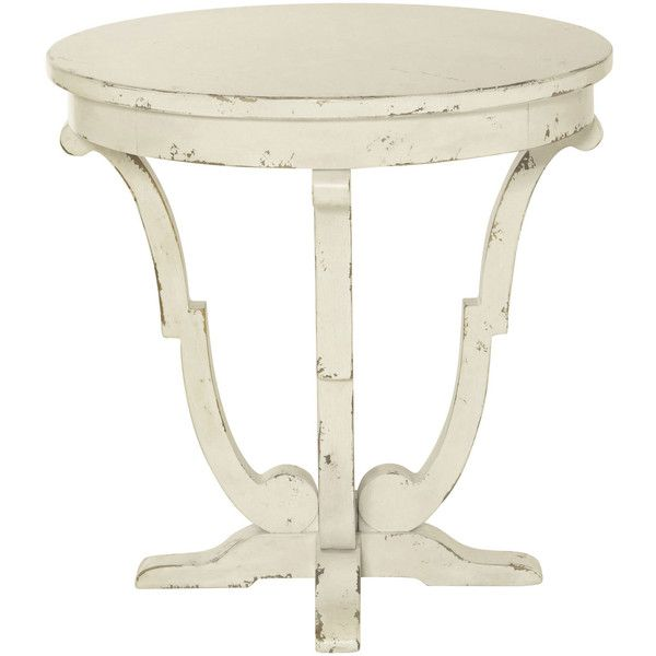 Reine French Country Antique White Round End Table 1 785 Brl