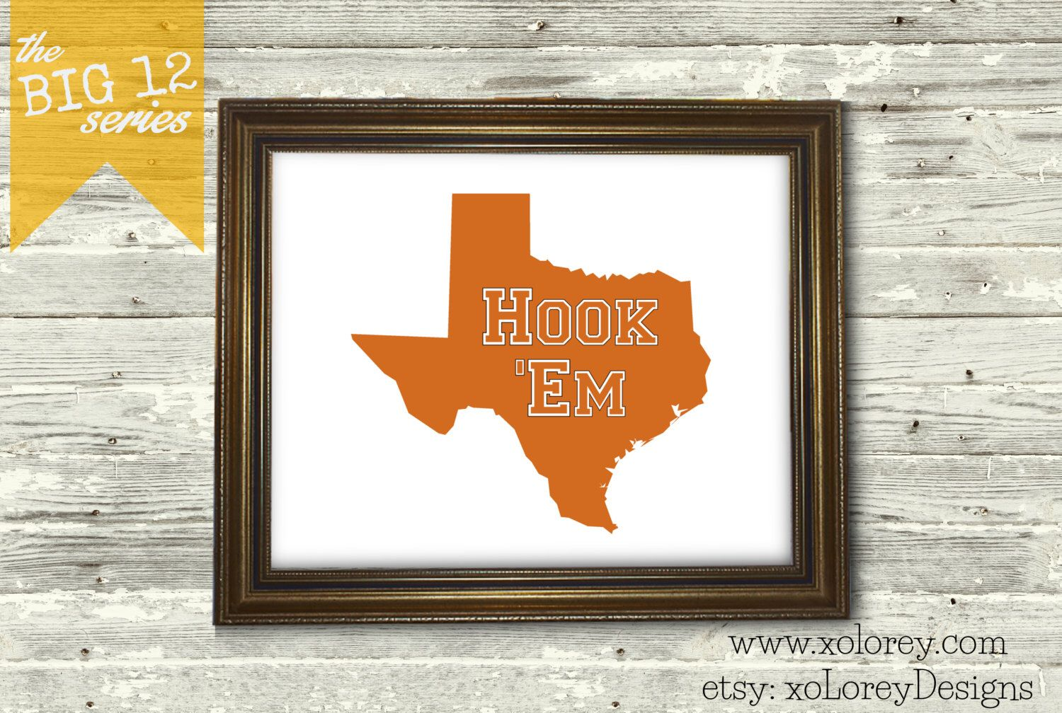Game Day Decor! The Big 12 Series - UNIVERSITY of TEXAS LONGHORNS, Austin, Tx. - American Football Printable Wall Art by xoLoreyDesigns on Etsy https://www.etsy.com/listing/239489255/game-day-decor-the-big-12-series