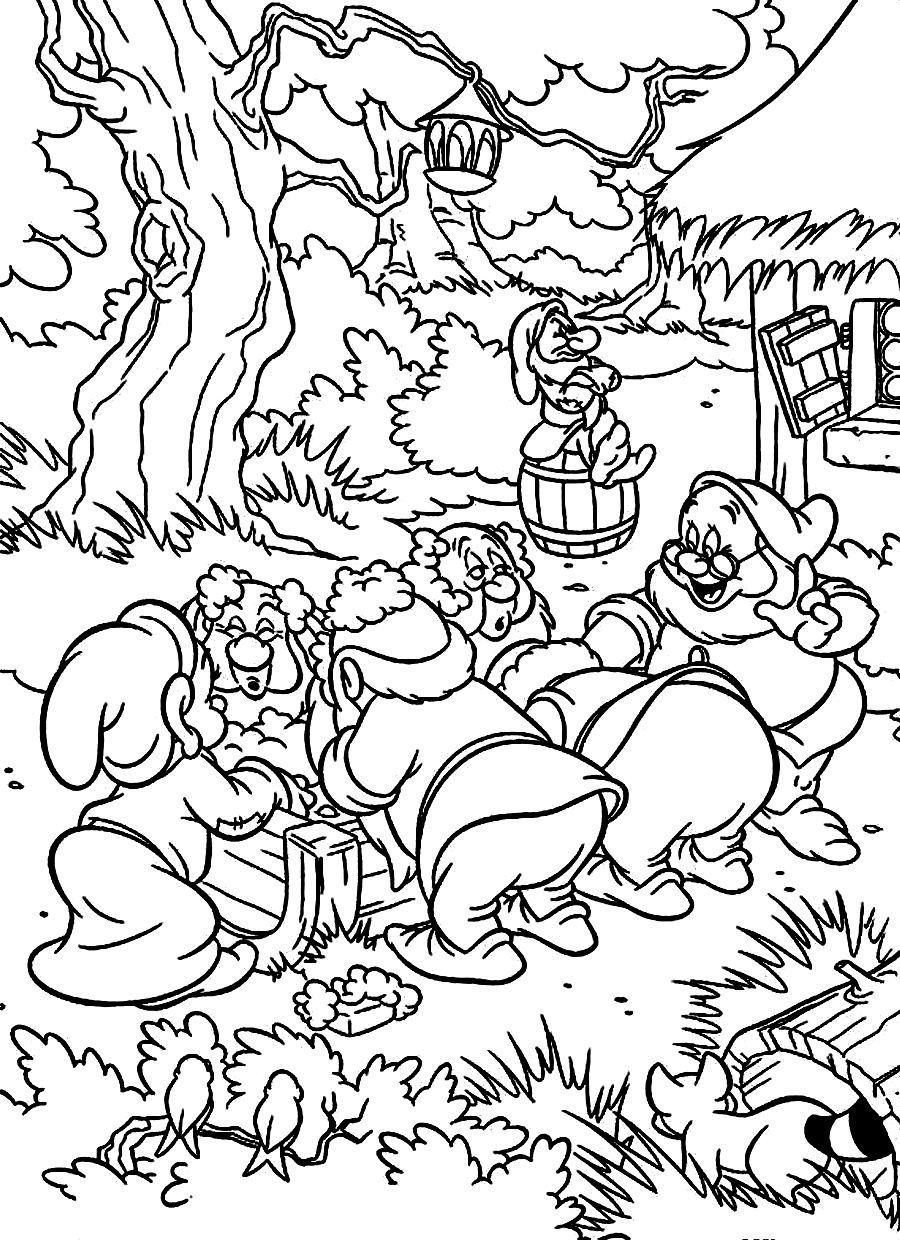 snow white and the seven dwarfs coloring pages pictures 5 disney