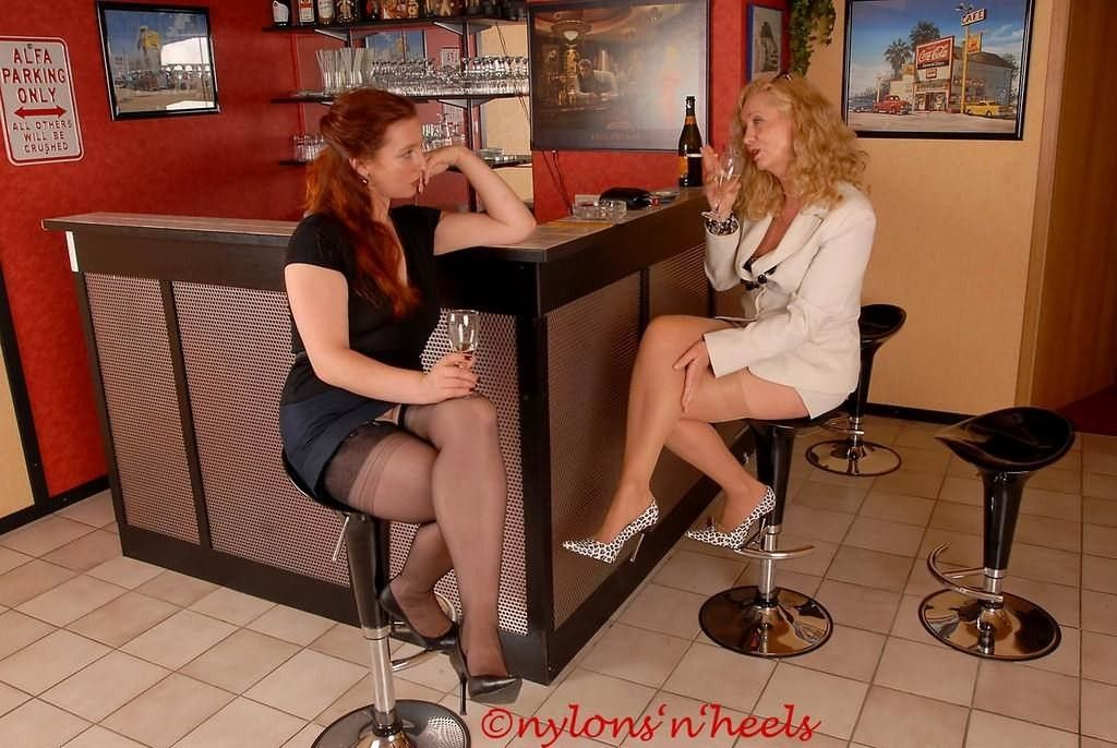 Drinking in pantyhose