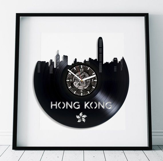 Hong Kong City Gift Retro Wall Clock Large Vintage Vinyl Record Birthday Modern China
