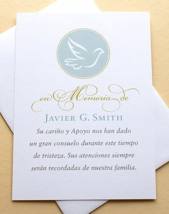 English or Spanish Funeral Thank You Sympathy Cards with a Thank