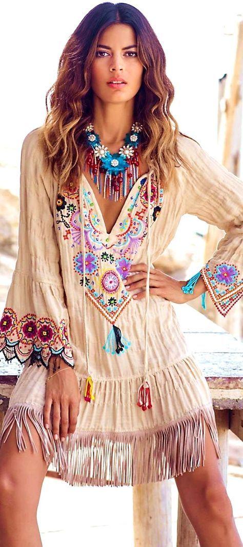 14 Bohemian Style Bedroom Interior Design Ideas: Indie Boho Embellished Fringe Dress