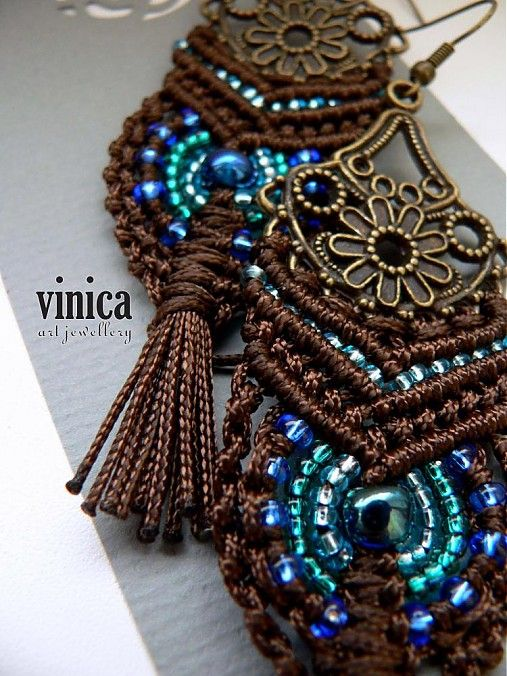 vGreat color combo...and fine workmanship.  inica / Bahijah - earring - micromacrame