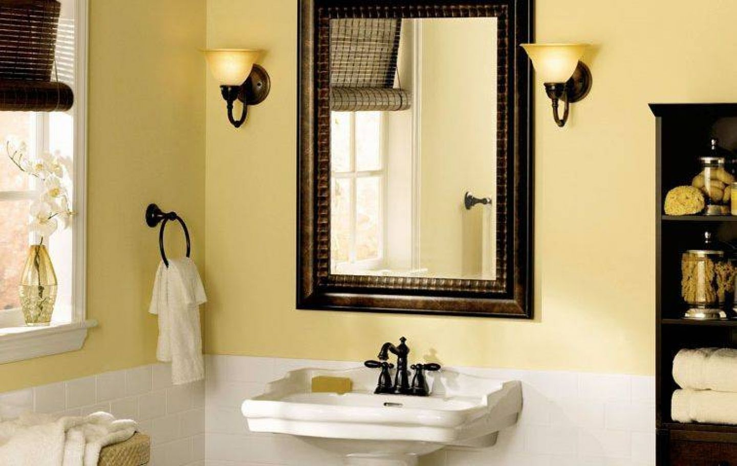 Rustic Vanity Lighting Also Black Faucet Design Feat Nice Yellow ...