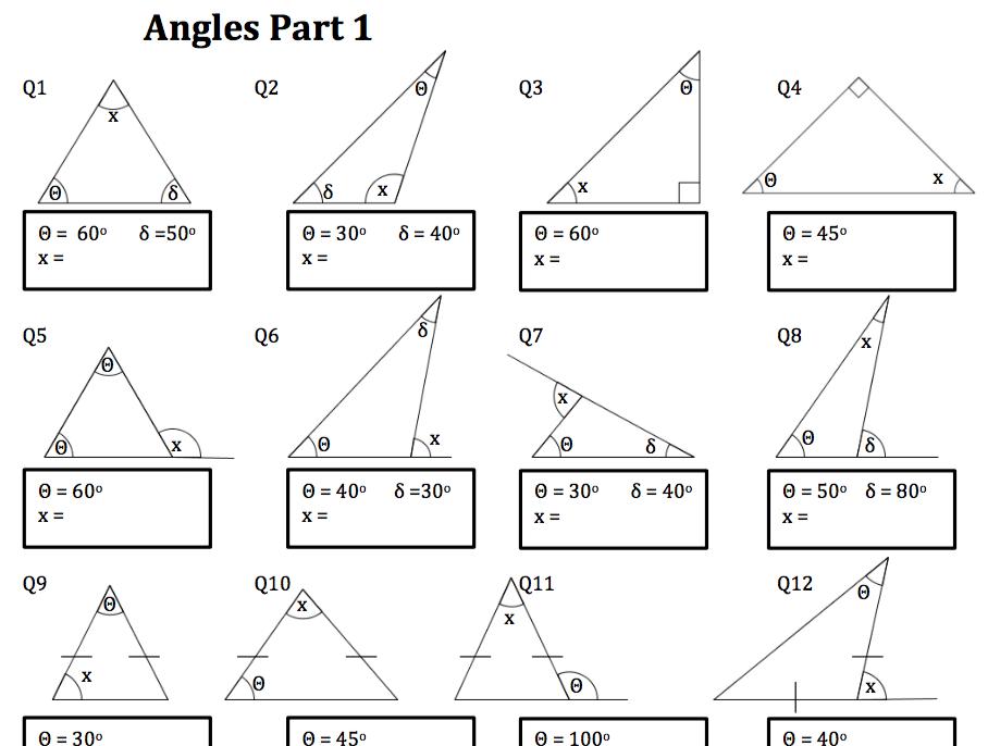 Angles_Worksheet Matika úhly + trojúhelníky // Maths