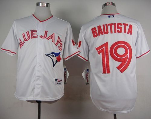 Blue Jays #19 Jose Bautista White 2015 Canada Day Stitched