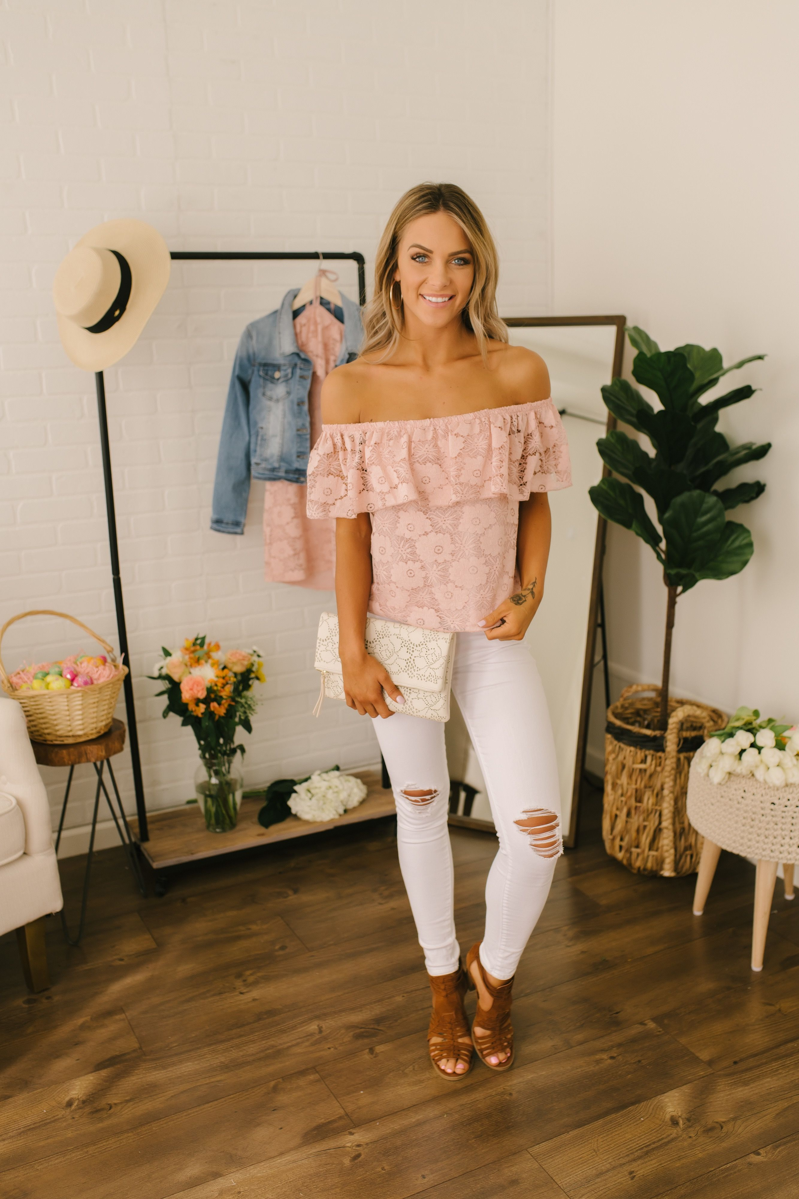 634bd21406e7cc This off the shoulder top features a ruffled overlay and comes in a floral  lace material. Pair with white skinny jeans and wedges for a classic and ...