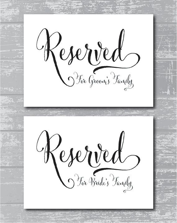 image regarding Printable Reserved Signs for Wedding named Prompt Down load - Swash Reserved for Household Symptoms 5x7\