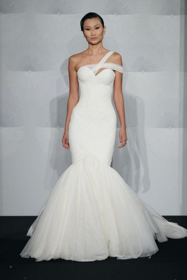 Chiffon One Shoulder Mermaid Wedding Dress By Mark Zunino