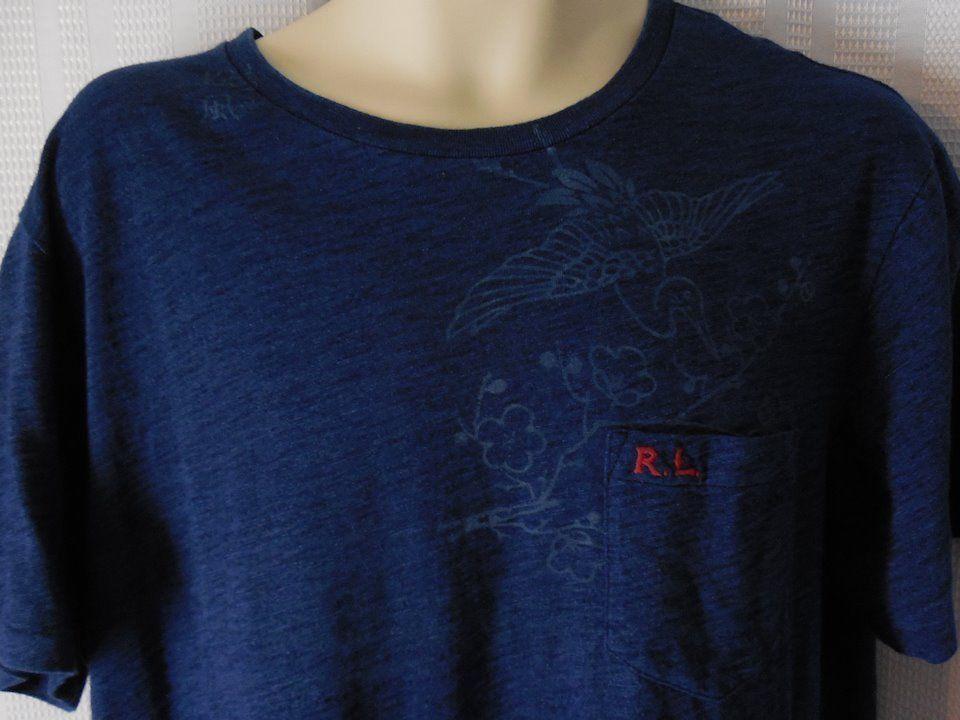 POLO RALPH LAUREN T-Shirt Sz Large Custom Fit blue Silk screen print NEW #PoloRalphLauren #GraphicTee