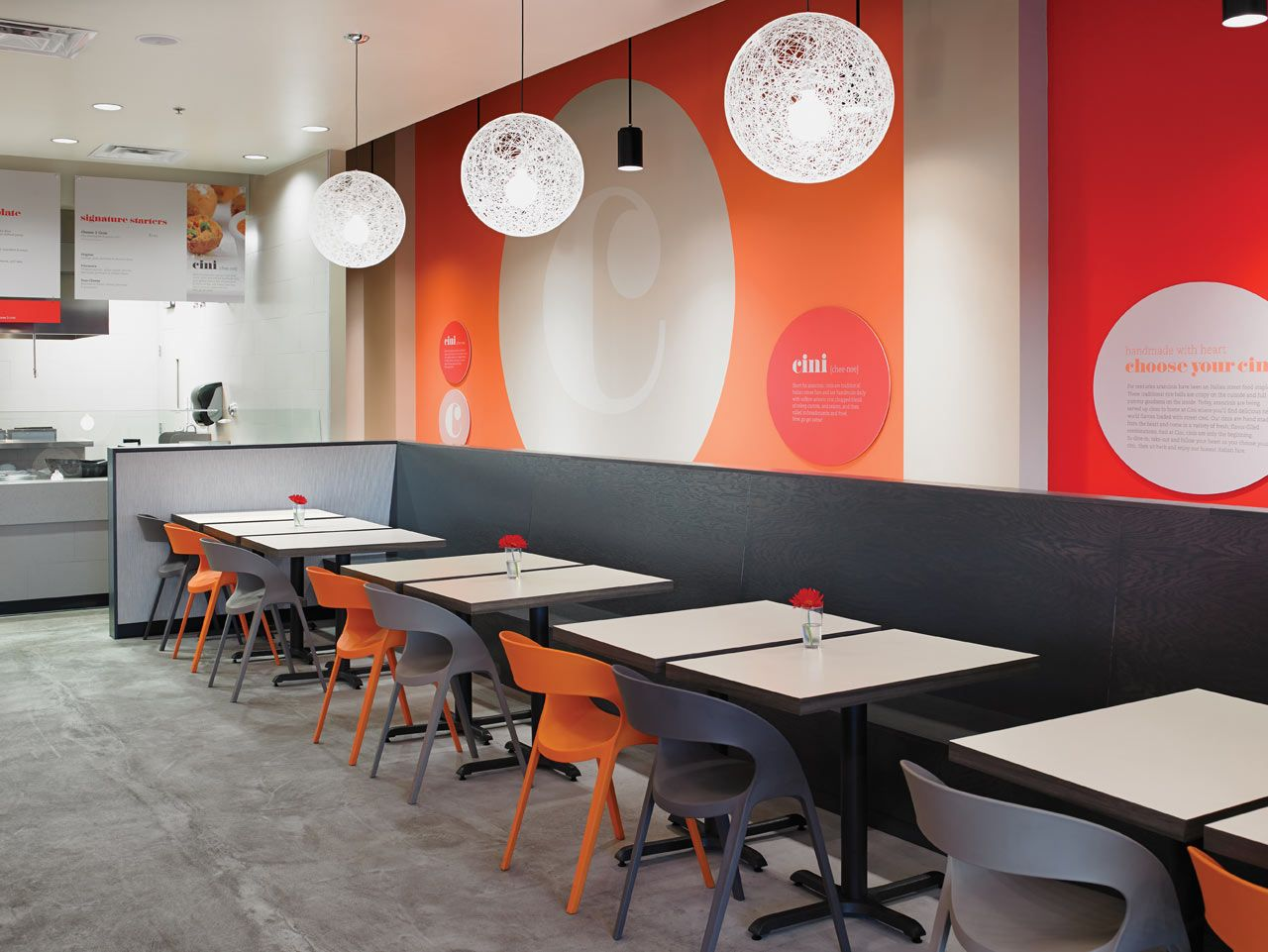 This modern cafe has a great mix of materials from