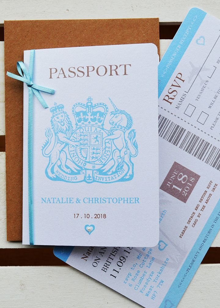 Passport Style Wedding Invitation In Aqua With Boarding Pass Style
