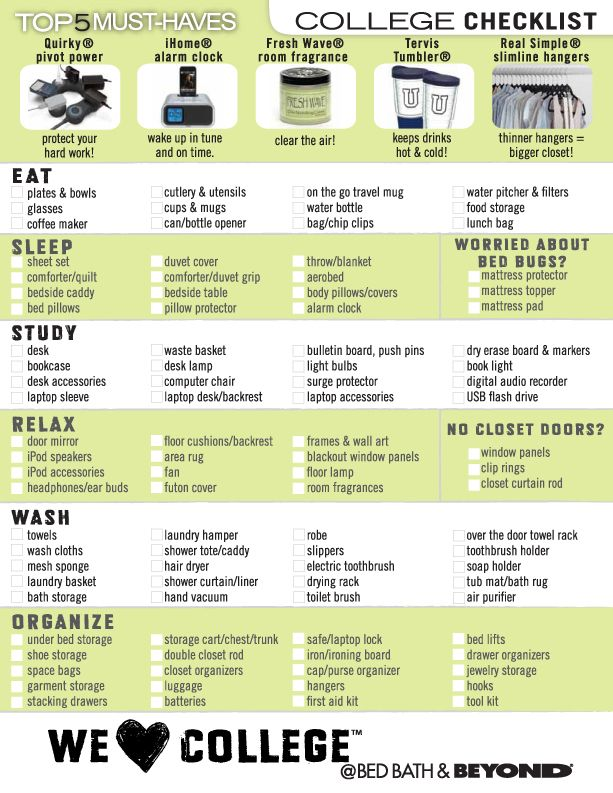 Bed Bath And Beyond Checklist For College · College ChecklistDorm Room  ChecklistCollege PlanningUniversity ... Part 44