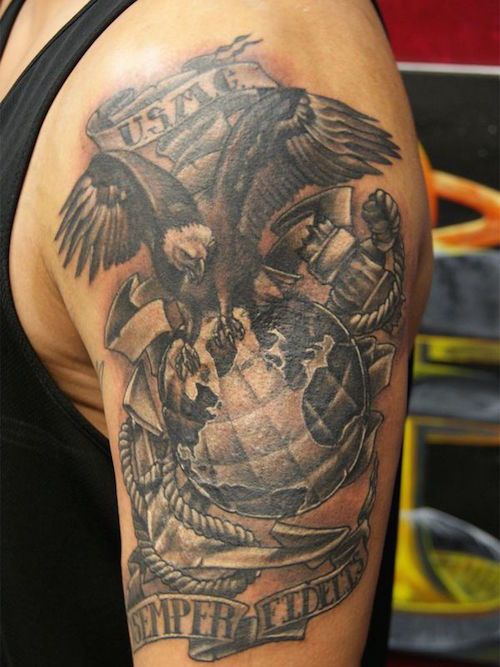 12b7f97f8b160 Beautiful Military Tattoos That Show Freedom and Bravery Whether you are a  supporter of the military, a hardened veteran, or a new recruit eager to  show ...