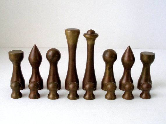 Vintage Solid Bronze and Aluminum Modernist Chess by FultonLane
