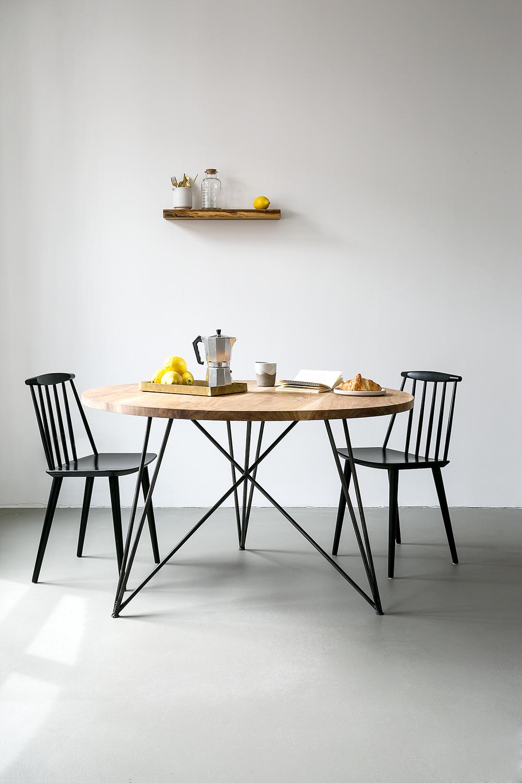 oak steel table round by nutsandwoods modern interior pinterest steel table steel and. Black Bedroom Furniture Sets. Home Design Ideas