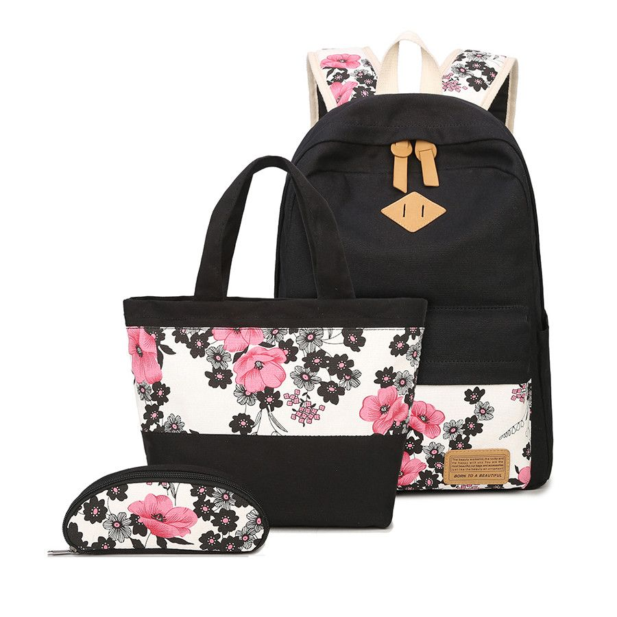 Wholesale Price + Free Shipping  Special Purpose Bags 3 pcs kids school bag  set chinese style floral printing backpack girl schoolbag flower bag ethnic  ... f3c2a3e12ac73