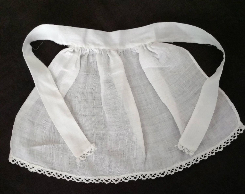 White apron lace trim - Vintage White Cotton Doll Apron Novelty Braid Lace Trim Hem Edging Ties End