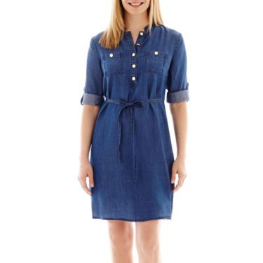 3feea0fc5ee6d0 Liz Claiborne Denim Shirt Dress - JCPenney | Trend We Love ...