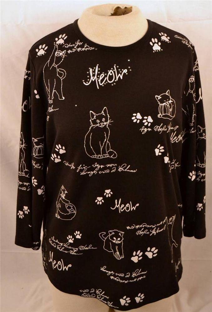 Allison Daley Ladies Size Large 3 4 Sleeve Cat Kitten Print Blouse