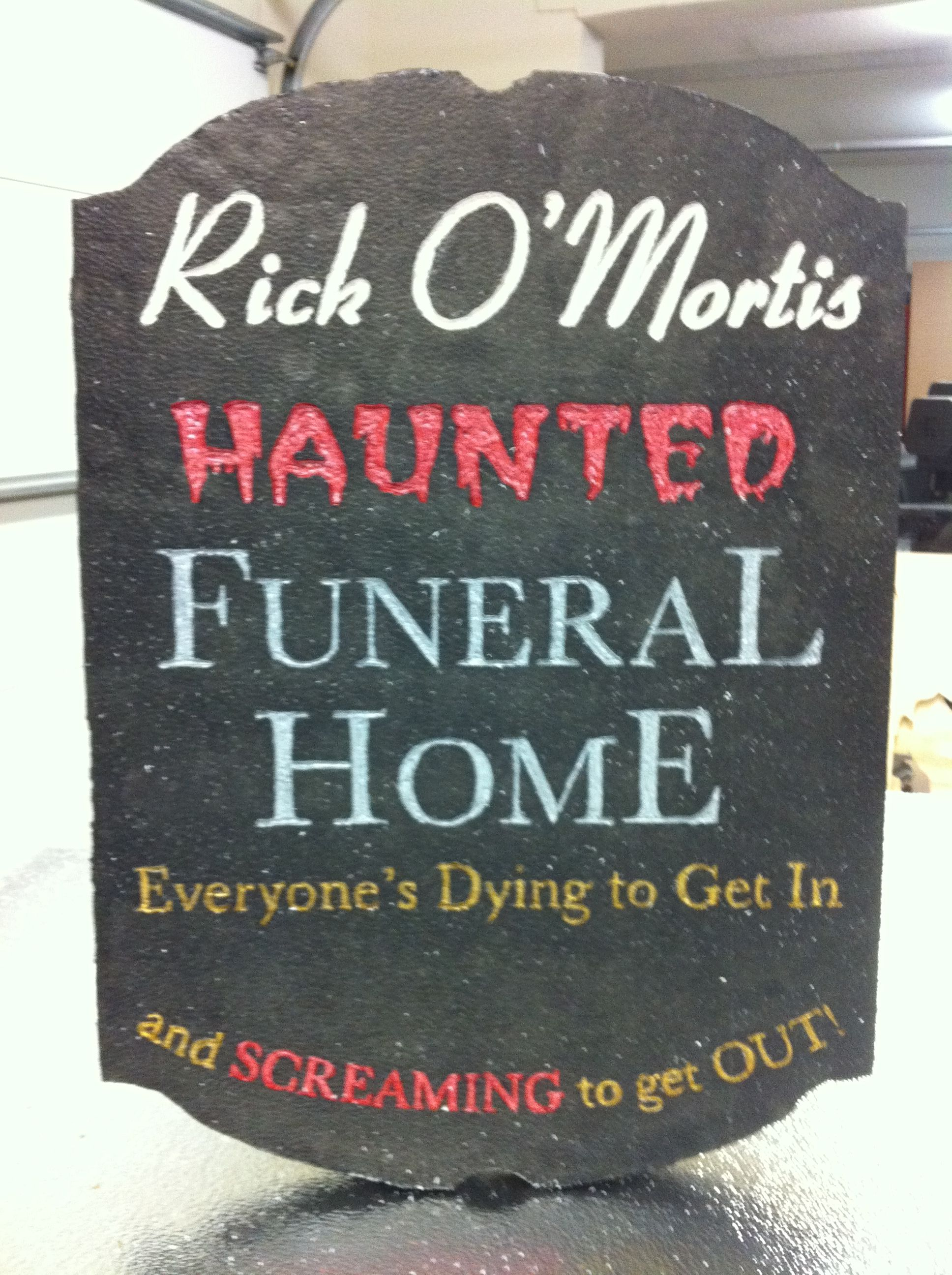halloween funeral home sign by paul - Homes Decorated For Halloween