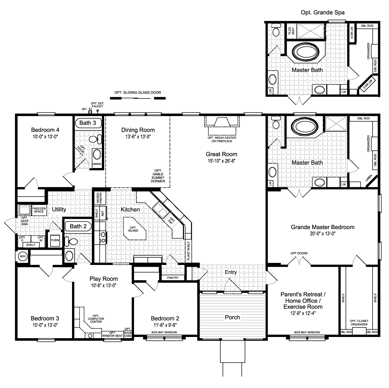 Floor Plan The Hacienda Ii Vrwd66a3 Or Vr41664a Modular Home Floor Plans Manufactured Homes Floor Plans Modular Home Plans