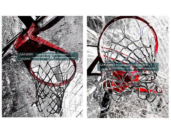 This modern basketball wall art set can be found @etsy on Takumipark in different sizes. They are both photo prints and comes in different sizes. The basketball print set is $20.88 and up. #bball #sportsart #basketballset #artset #wallartset