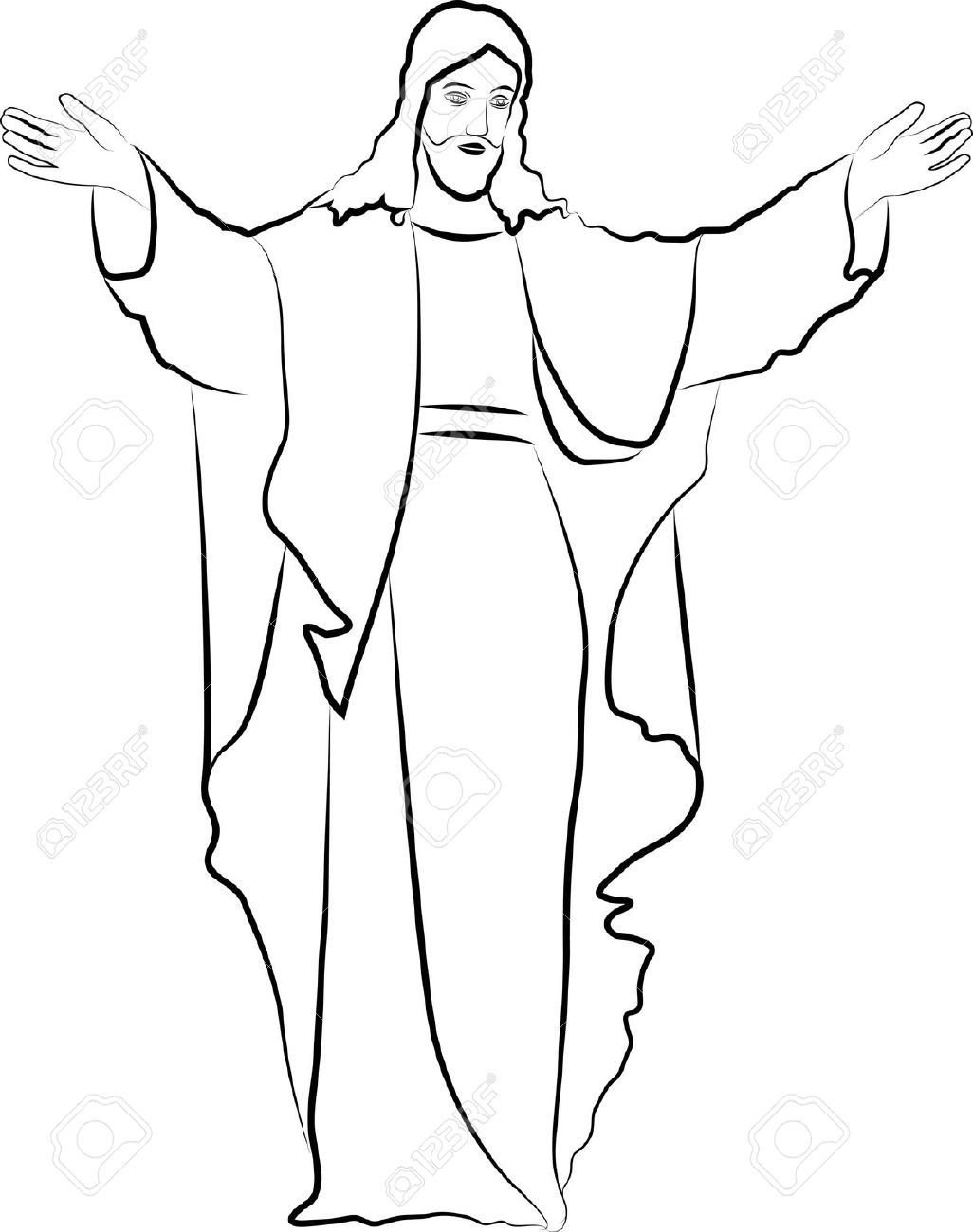 Sketch Jesus Christ Stock Vector Silhouette