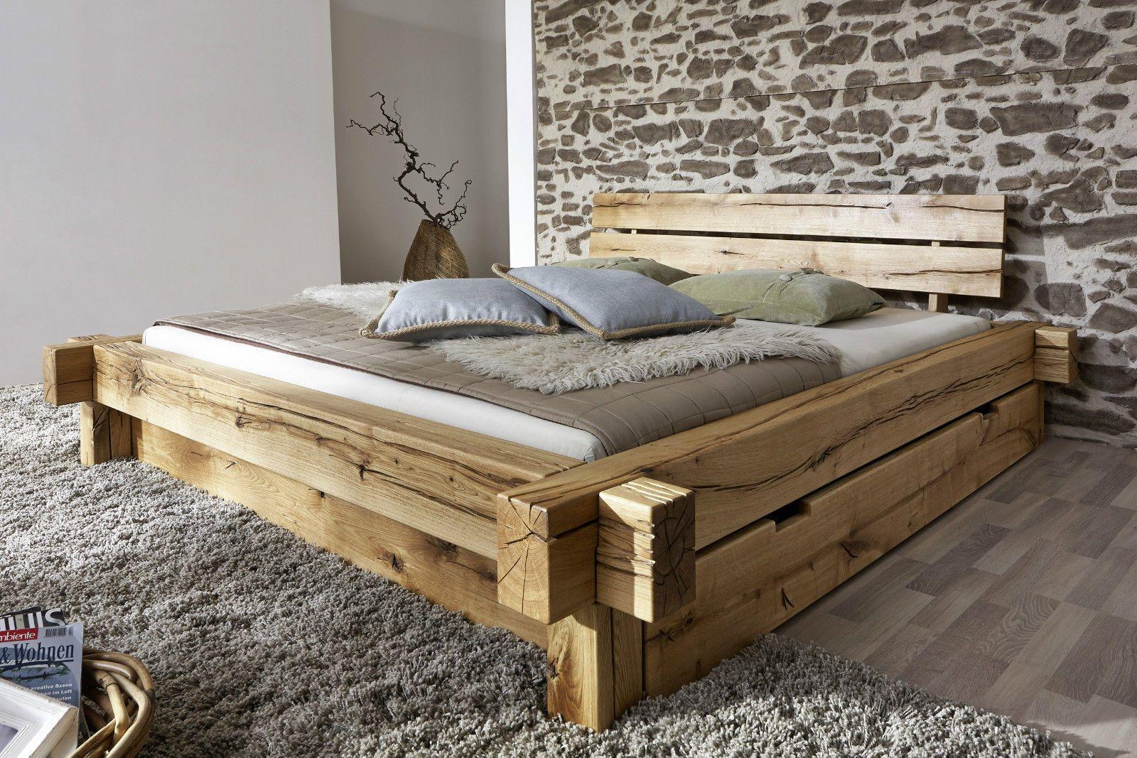 Doppelbett Bett Balkenbett 180x200cm Wildeiche Eiche