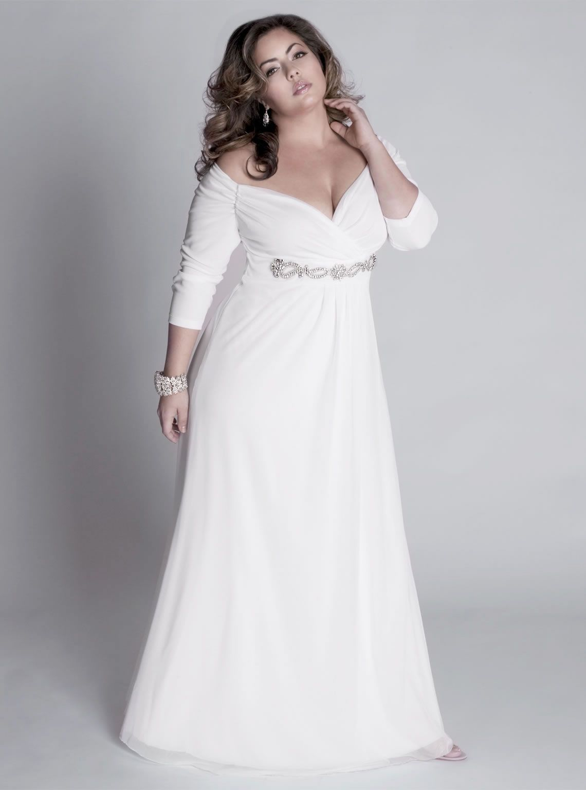 3/4 sleeve plus size evening gowns - Darius Designs