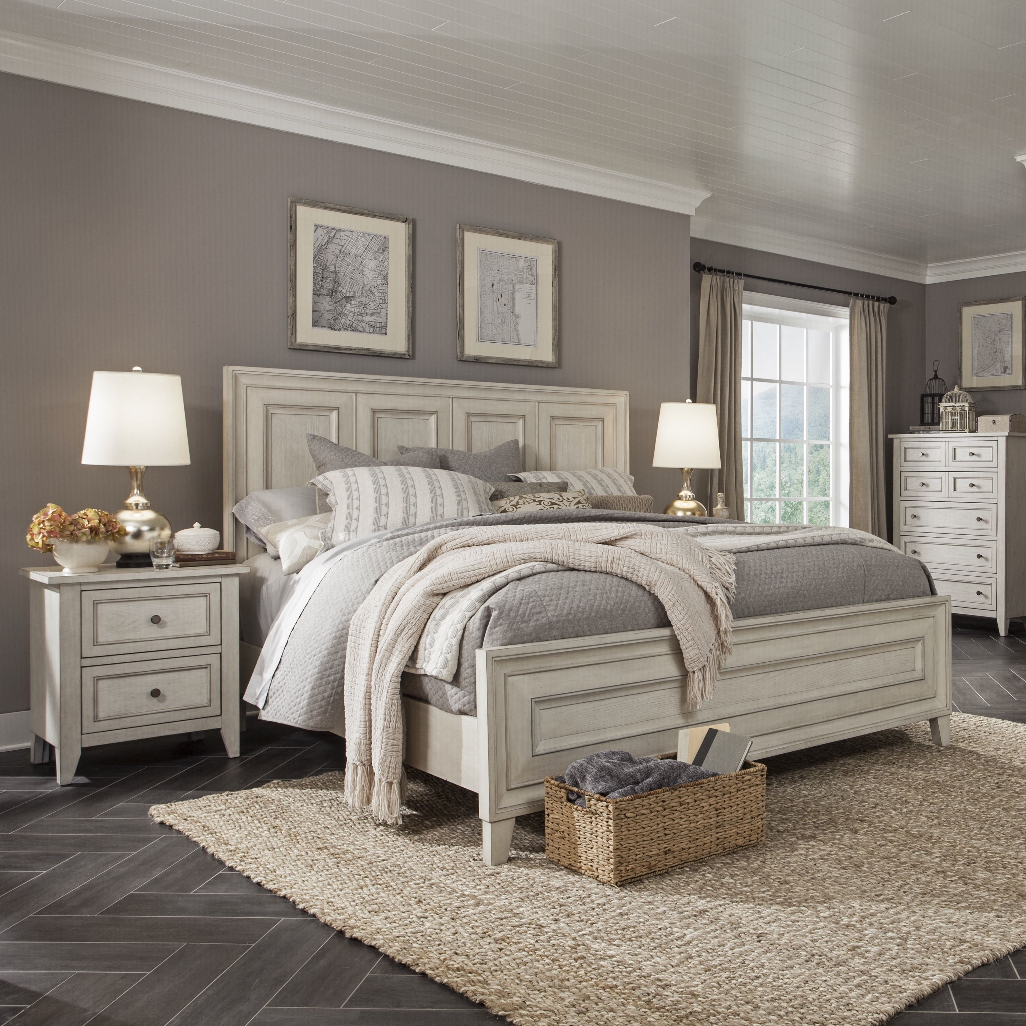 Raelynn Panel Bed In Weathered White Free Shipping Today 21237897