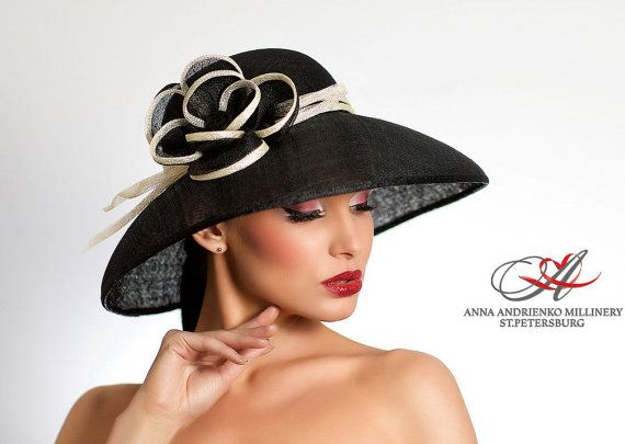 384c301ff9d Black and White Classic Audrey Hepburn Wide Brim Royal Ascot Formal Summer  Hat. Kentucky Derby Church Hat