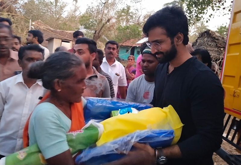 Actor Aadhi Helps Gaja Cyclone Victims
