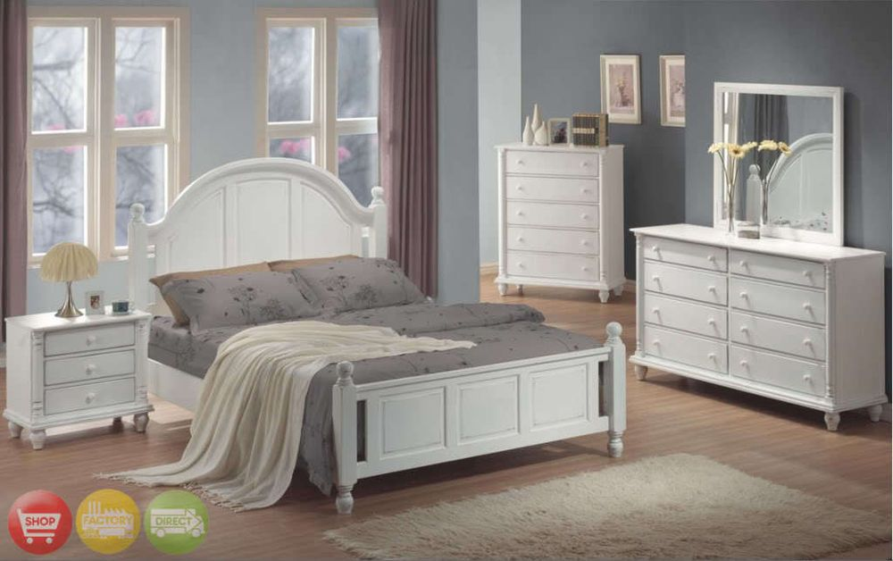 Full Bed White Wood 4 Piece Bedroom Furniture Set New Bedroomsets