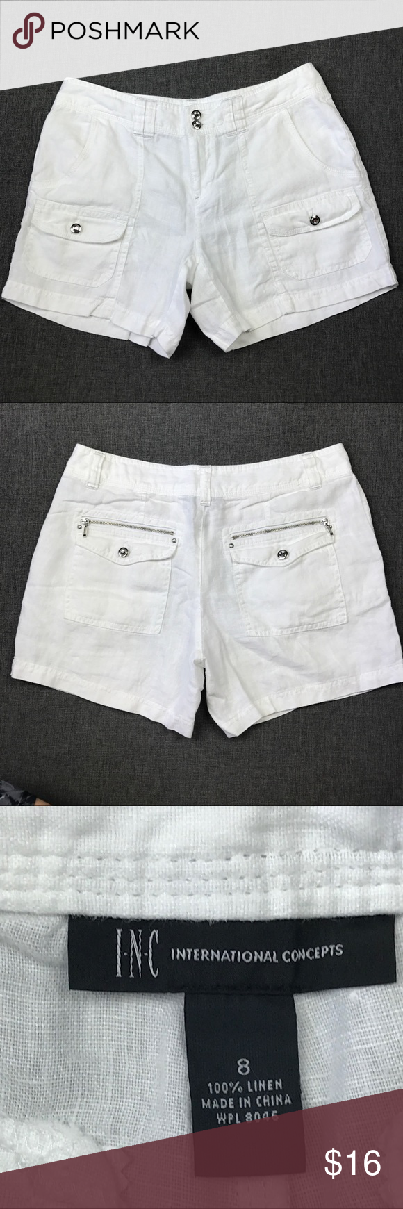 "INC White 100% White Linen Shorts Flat lay measurements: Waist- 16"" Rise- 9"" Hips- 22"" Inseam- 5"" INC International Concepts Shorts"