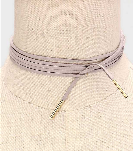 Long Faux Suede Tie Wrap Choker Matchstick Necklace - Grey