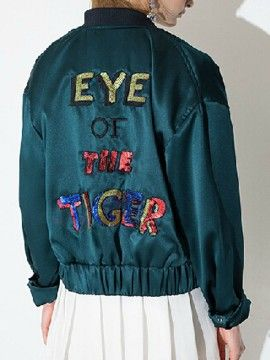 Shop Peacock Green Sequined Letter Embroidery Back Bomber Jacket from choies.com .Free shipping Worldwide.$39.99