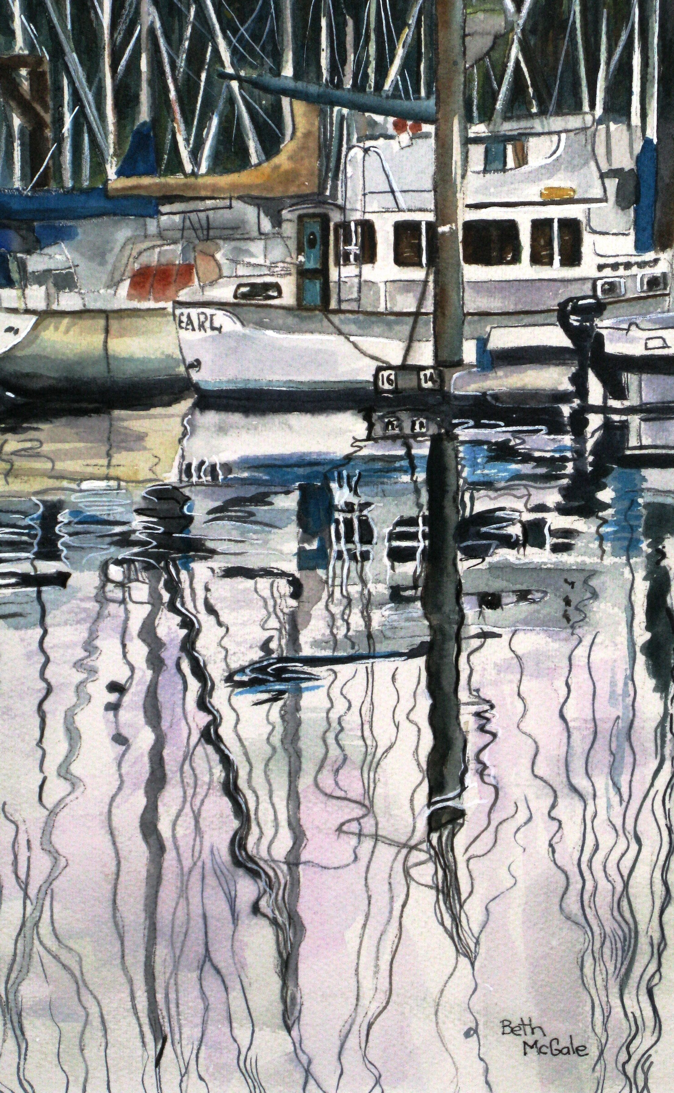Harbour Dance British Columbia Canada Watercolour On Paper By Beth Mcgale Watercolor Boat Architecture Painting Watercolor Landscape
