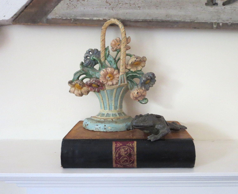 vintage cast iron door stop, floral doorstop, flower basket doorstop, antique  iron doorstop - Vintage Cast Iron Door Stop, Floral Doorstop, Flower Basket Doorstop