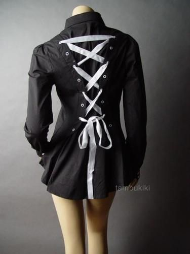 VICTORIAN Corset Style Goth Lace Up Back Top Shirt - Just a regular looking, button-up dress shirt in the front. I like it.