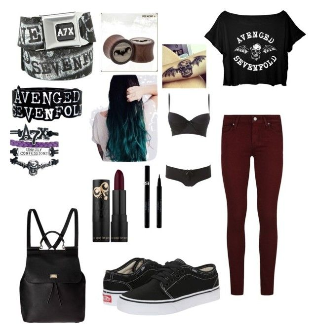 """Avenged sevenfold set 1"" by bethgladden on Polyvore featuring Paige Denim, Vans, Dolce&Gabbana, Charlotte Russe and Sisley"