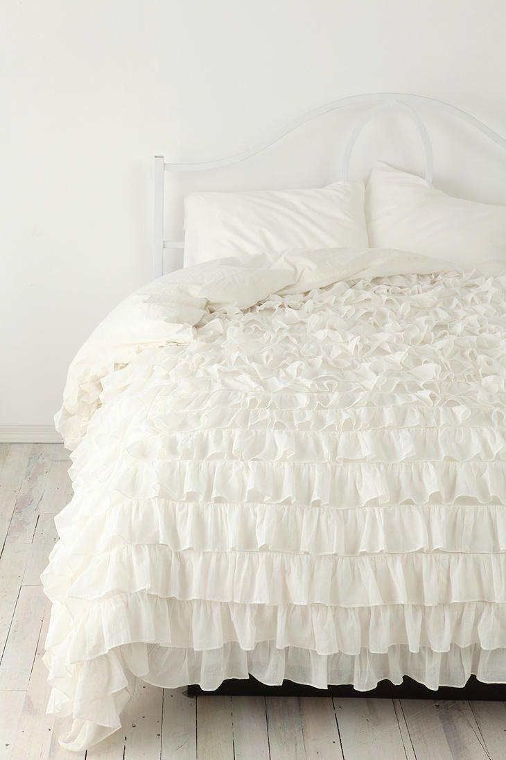 cover anthropologie duvet ruffle bedding product white ruffled