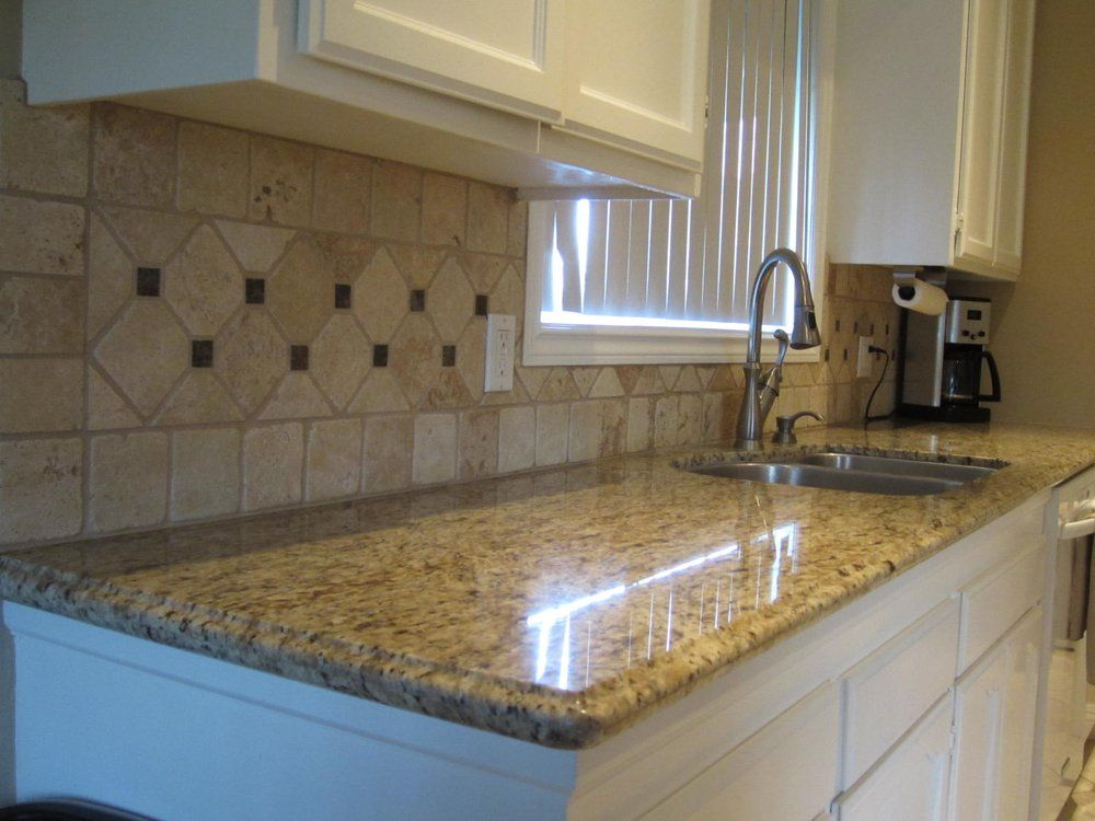 Travertine Backsplash With Marble Diamond Cut To Match Floor Yelp Inspiring Ideas