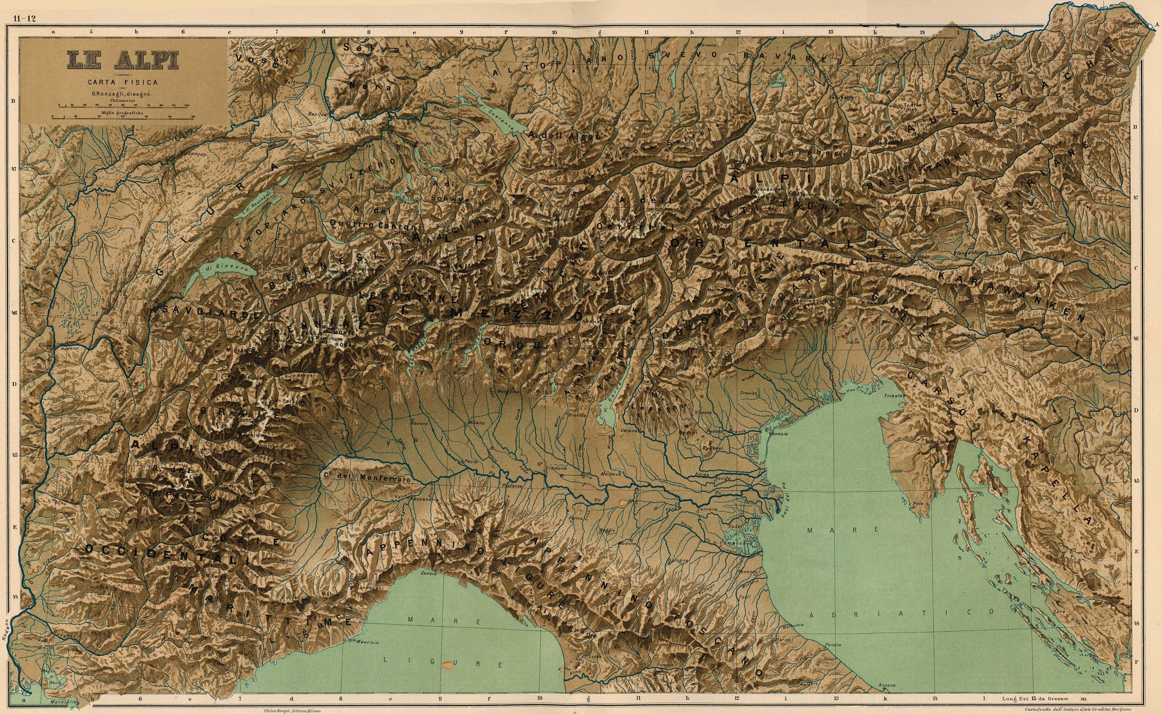 Cartina 3d Alpi.Le Alpi Physical Map Of The Alps 1899 Relief Map Ancient Maps Map
