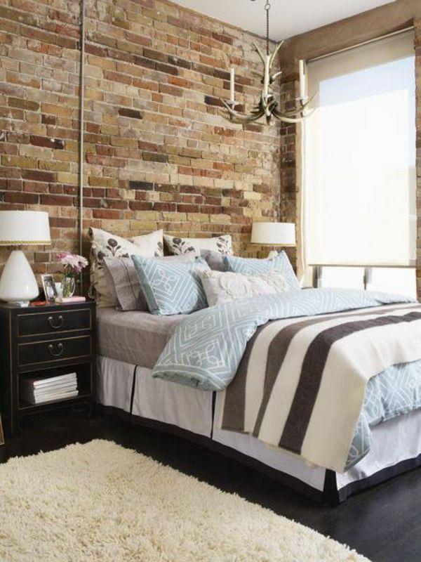 31 Ideen wie Sie eine Backsteinwand hinter Ihrem Bett schmücken ...