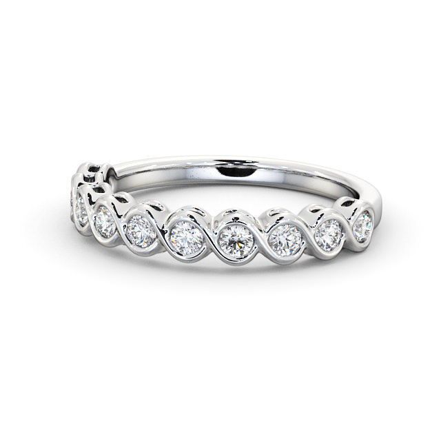 IGI Certificate Round Diamond Bezel Half Eternity Wedding